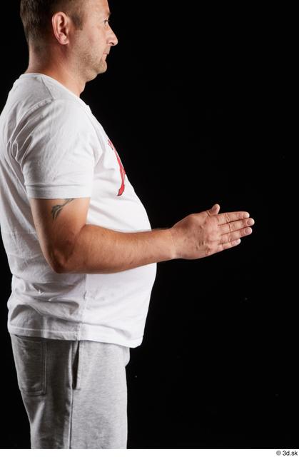 Arm Man White Sports Shirt Chubby Studio photo references