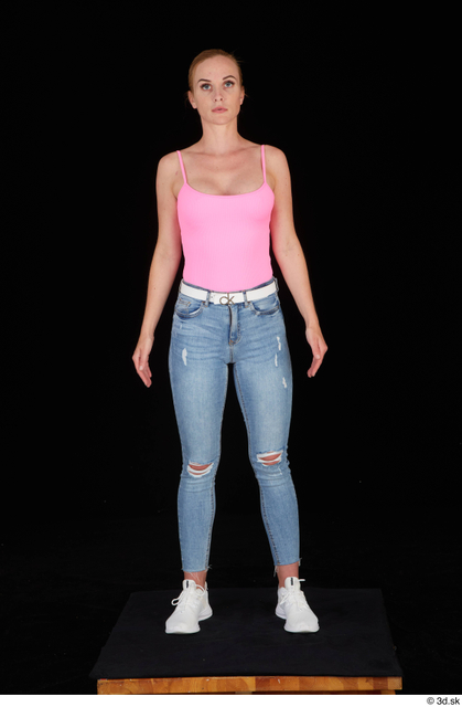 Whole Body Woman White Casual Slim Standing Studio photo references