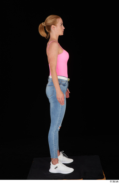 Whole Body Woman White Casual Jeans Slim Standing Studio photo references