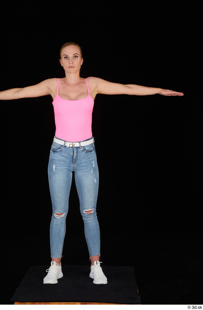 Whole Body Woman T poses White Casual Jeans Slim Standing Studio photo references