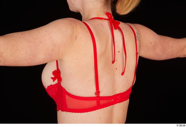 Chest Back Woman White Underwear Bra Slim Studio photo references