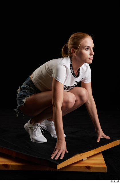 Whole Body Woman White Sports Shirt Jeans Shorts Slim Kneeling Studio photo references