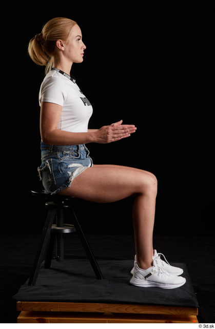 Whole Body Woman White Sports Shirt Jeans Shorts Slim Sitting Studio photo references