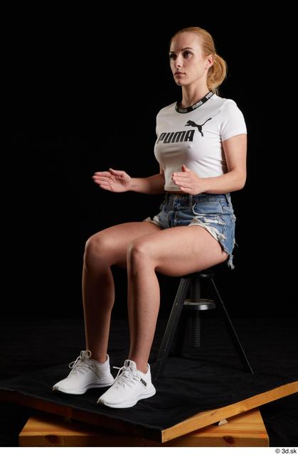 Whole Body Woman White Sports Shirt Jeans Shorts Slim Sitting Studio photo references