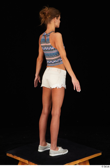 Whole Body Woman White Casual Shorts Underweight Standing Top Studio photo references