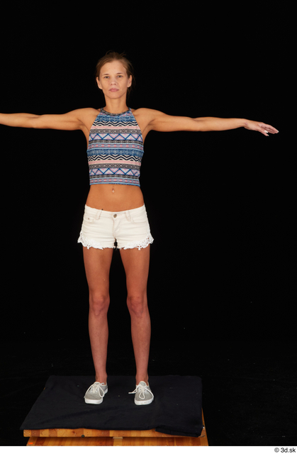 Whole Body Woman T poses White Casual Shorts Underweight Standing Top Studio photo references