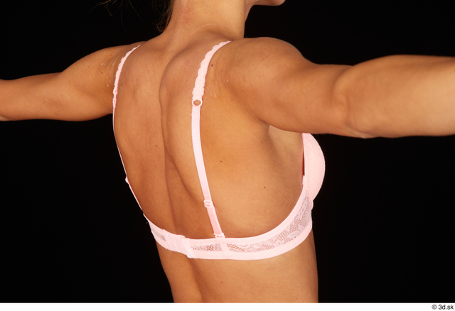 Chest Back Woman White Bra Underweight Studio photo references