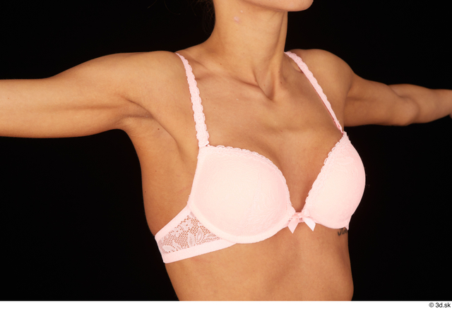 Chest Breast Woman White Bra Underweight Studio photo references