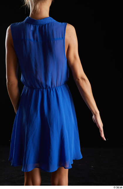 Arm Back Woman White Casual Dress Underweight Studio photo references