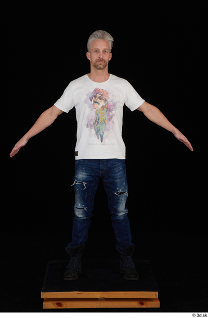 Whole Body Man White Casual Shirt Jeans Slim Standing Studio photo references