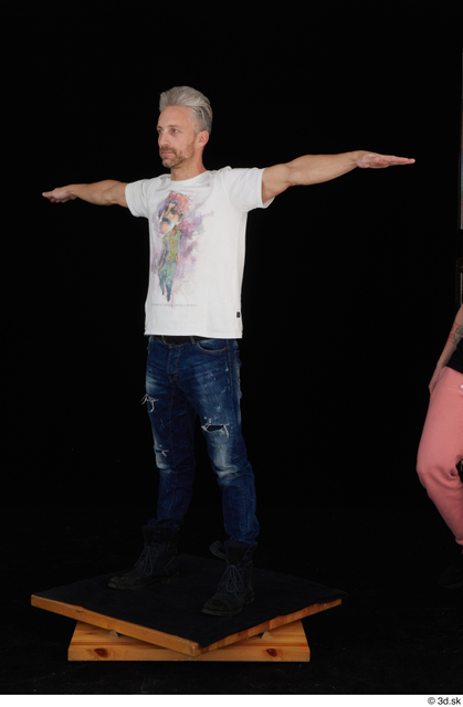 Whole Body Man T poses White Casual Shirt Jeans Slim Standing Studio photo references