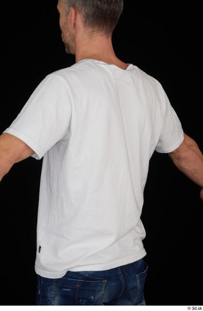 Upper Body Man White Casual Shirt Slim Studio photo references