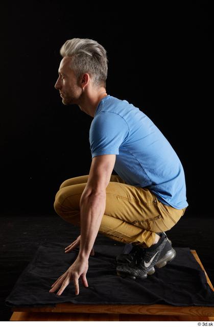 Whole Body Man White Casual Shirt Jeans Slim Kneeling Studio photo references