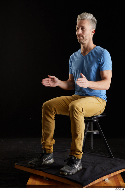 Whole Body Man White Casual Shirt Jeans Slim Sitting Studio photo references