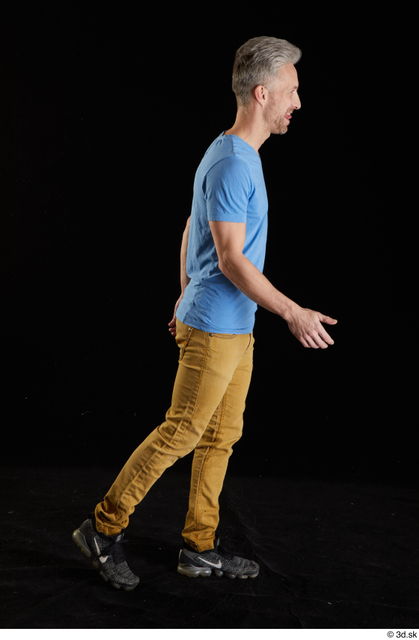 Whole Body Man White Casual Shirt Jeans Slim Walking Studio photo references