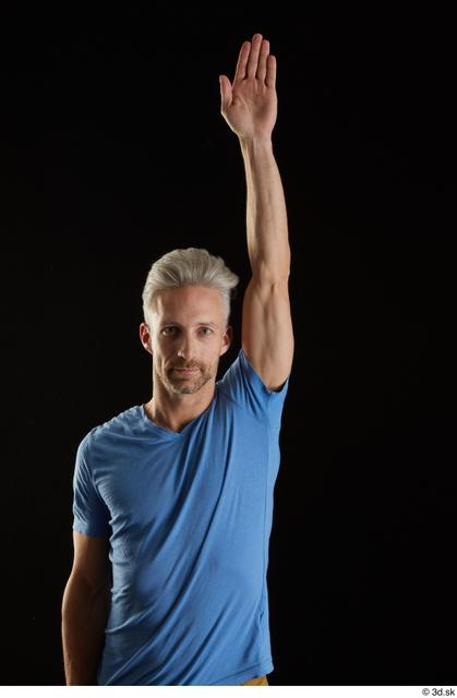 Arm Man White Casual Shirt Slim Studio photo references