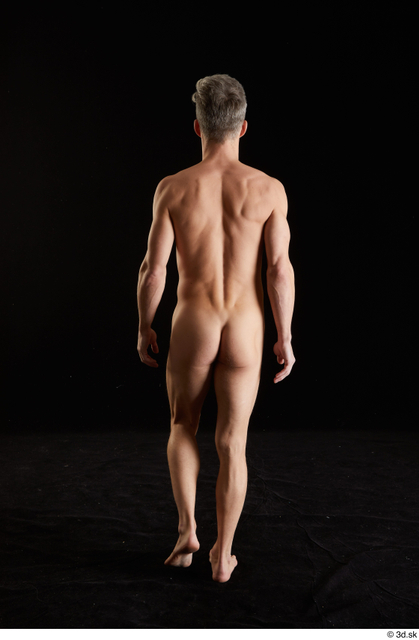 Whole Body Back Man White Nude Slim Walking Studio photo references