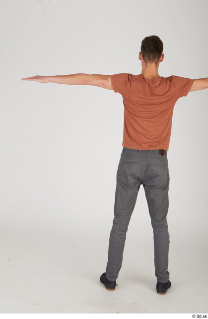 Whole Body Man T poses White Slim Standing Street photo references