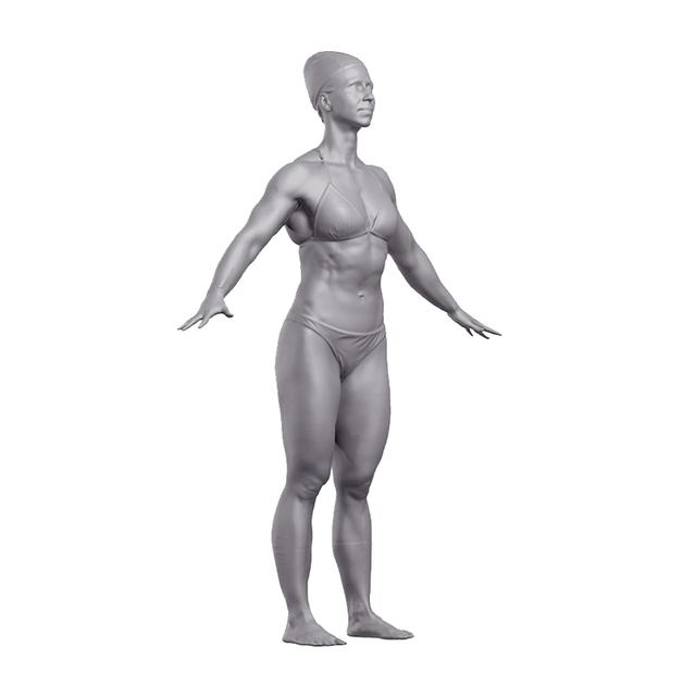 Head Woman White Underwear 3D Artec Bodies