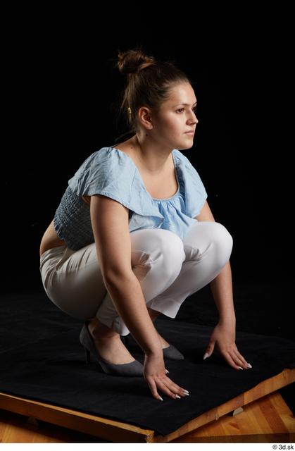 Whole Body Woman White Casual Shirt Trousers Average Kneeling Studio photo references