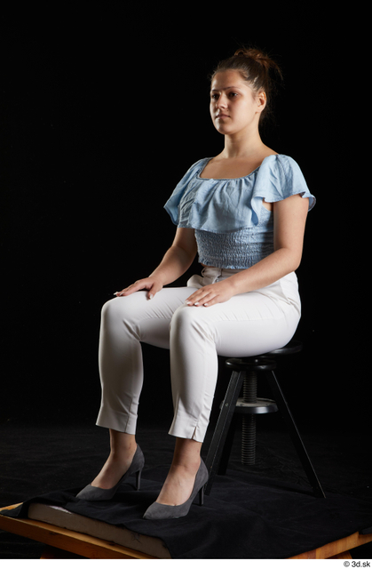 Whole Body Woman White Casual Shirt Trousers Average Sitting Studio photo references
