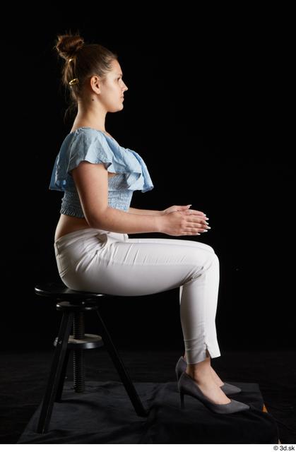 Whole Body Woman White Casual Shirt Trousers Average Sitting Studio photo references