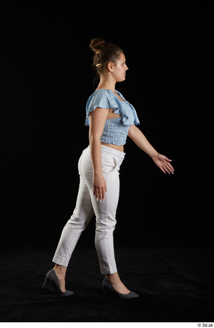 Whole Body Woman White Casual Shirt Trousers Average Walking Studio photo references