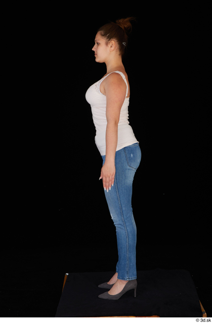 Whole Body Woman White Casual Jeans Average Standing Top Studio photo references