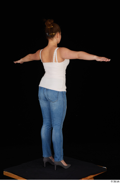 Whole Body Woman T poses White Casual Jeans Average Standing Top Studio photo references