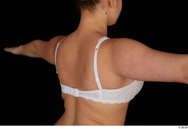 Chest Back Woman White Underwear Bra Average Studio photo references