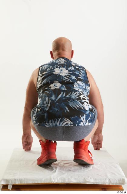 Whole Body Man White Sports Shorts Average Kneeling Top Studio photo references