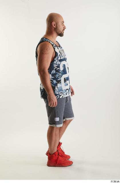 Whole Body Man White Sports Shorts Average Walking Top Studio photo references