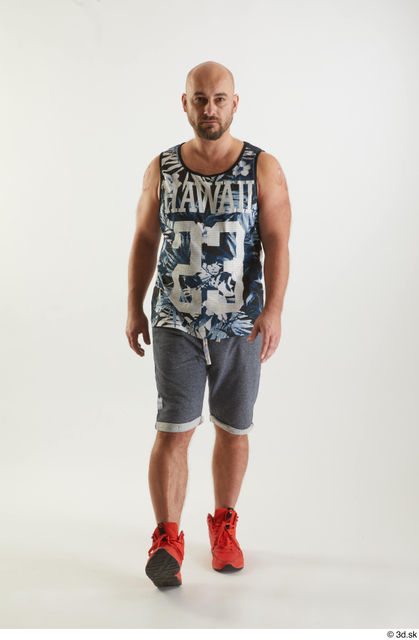 Whole Body Man White Sports Shorts Average Walking Top Studio photo references