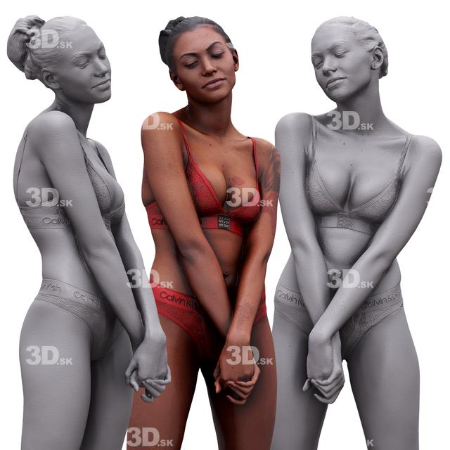 Whole Body Woman White Tattoo Underwear Athletic