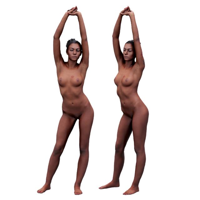 Whole Body Woman White Tattoo Underwear 3D Scans