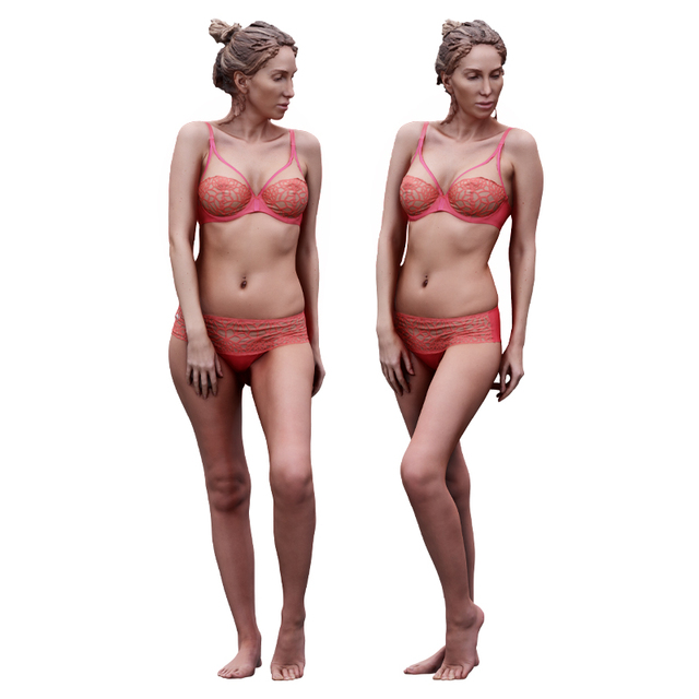 Whole Body Woman White Underwear Athletic 3D Scans