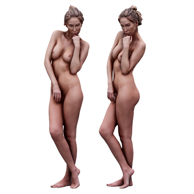 Whole Body Woman White Nude Athletic 3D Scans