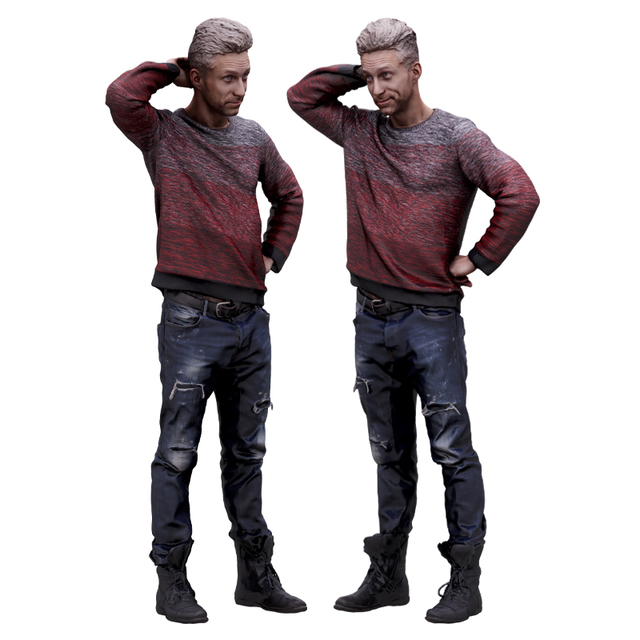Whole Body Man White Casual Athletic 3D Scans
