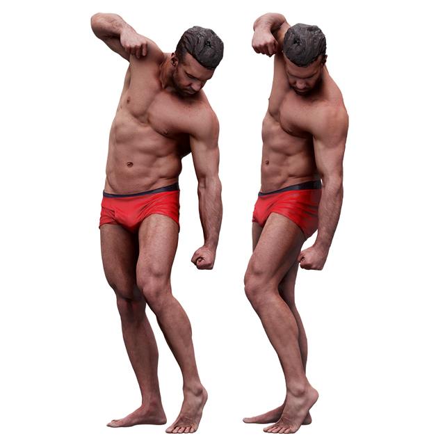 Whole Body Man White Underwear Muscular Bearded 3D Scans