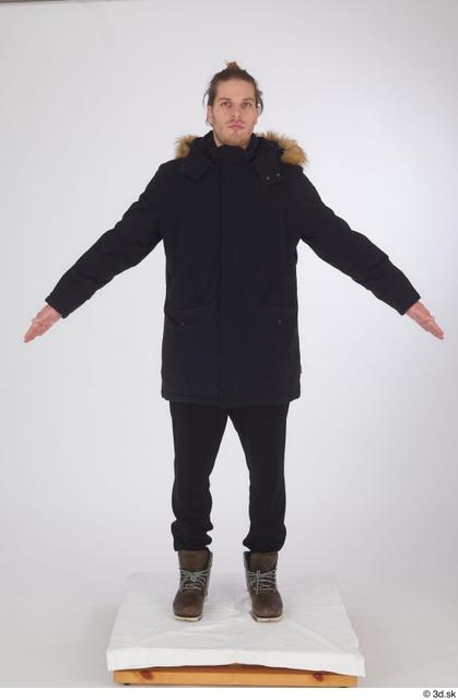 Whole Body Man White Sports Shoes Coat Slim Standing Studio photo references