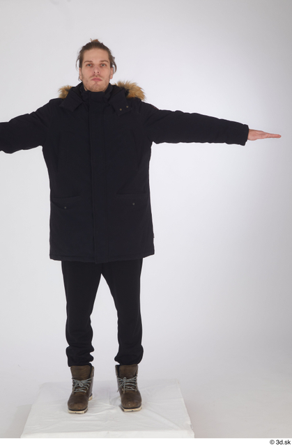 Whole Body Man T poses White Sports Shoes Coat Slim Standing Studio photo references