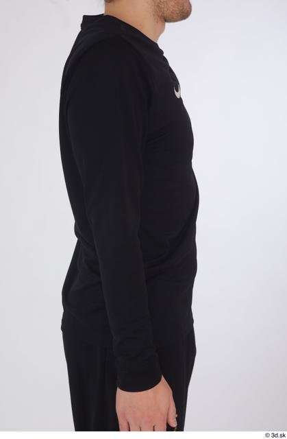 Arm Upper Body Man White Sports Shirt Slim Studio photo references