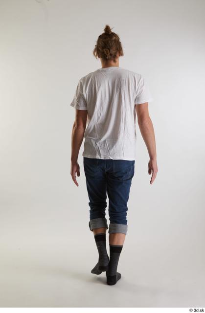 Whole Body Back Man White Casual Shirt Jeans Slim Walking Studio photo references