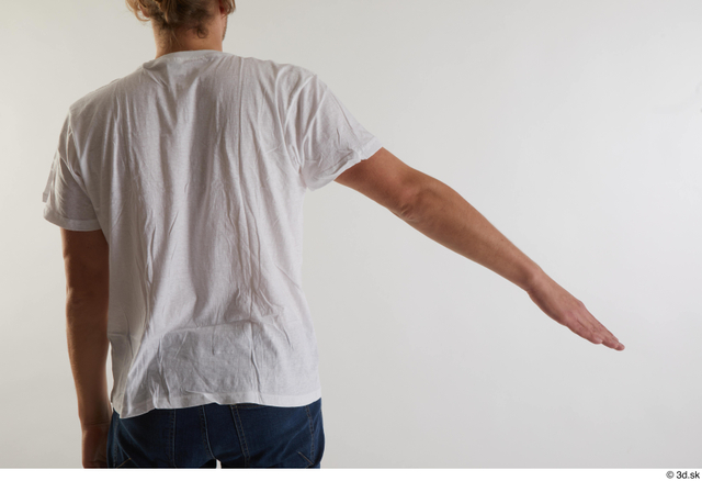 Arm Back Man White Casual Shirt Slim Studio photo references