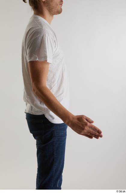 Arm Man White Casual Shirt Slim Studio photo references