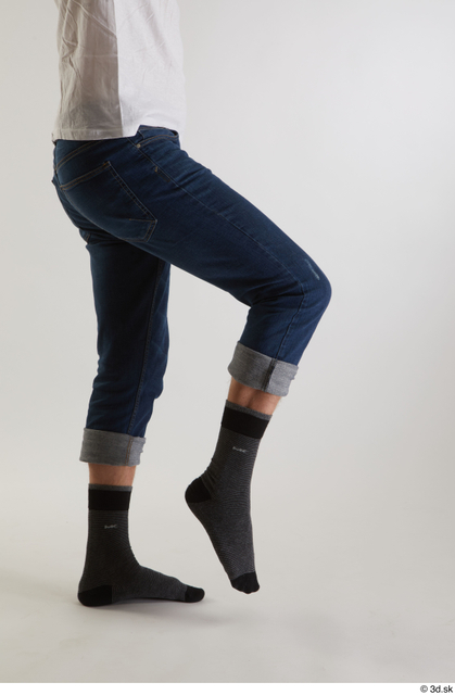 Leg Man White Casual Jeans Slim Studio photo references
