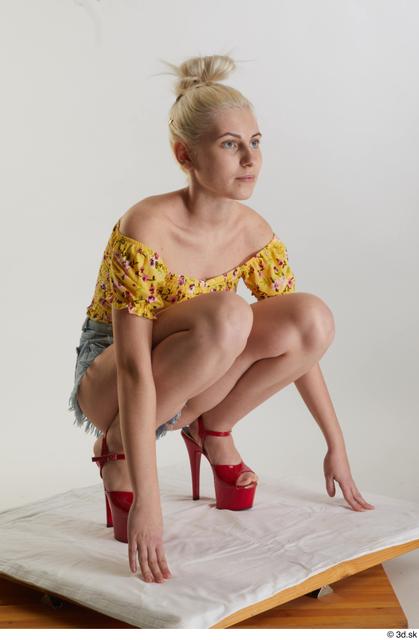 Whole Body Woman White Casual Shirt Jeans Shorts Slim Kneeling Studio photo references