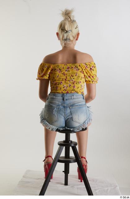 Whole Body Woman White Casual Shirt Jeans Shorts Slim Sitting Studio photo references
