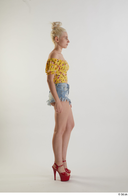 Whole Body Woman White Casual Shirt Jeans Shorts Slim Walking Studio photo references