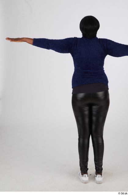 Whole Body Woman T poses Black Casual Chubby Standing Street photo references